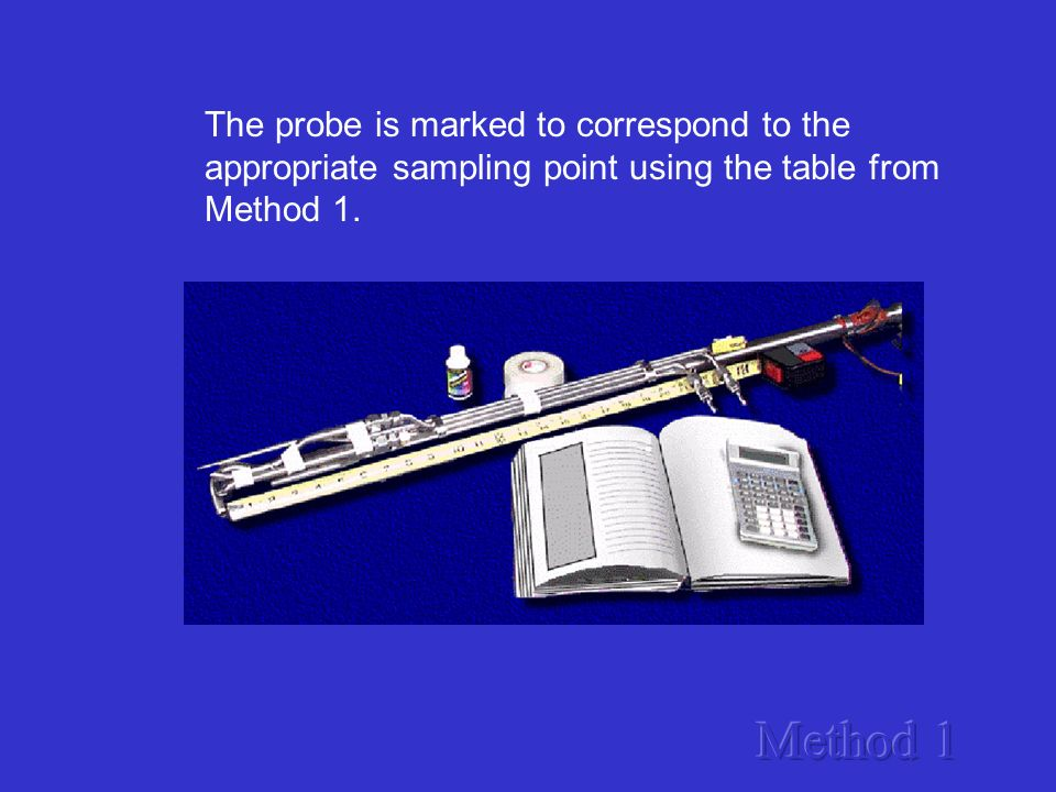 The probe is marked to correspond to the appropriate sampling point using the table from Method 1.