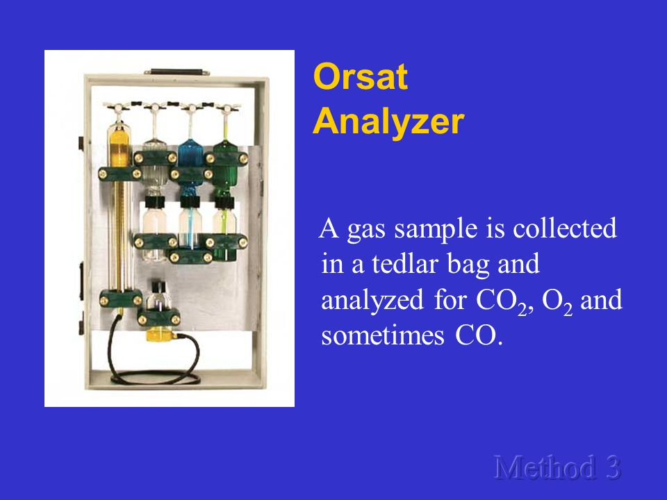 Orsat Analyzer A gas sample is collected in a tedlar bag and analyzed for CO2, O2 and sometimes CO.