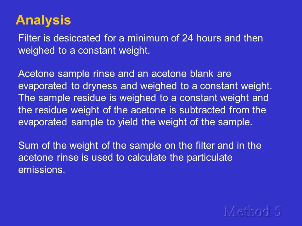 Analysis Filter is desiccated for a minimum of 24 hours and then weighed to a constant weight.