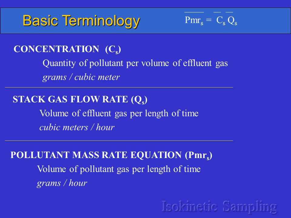 Basic Terminology Isokinetic Sampling Pmrs = Cs Qs CONCENTRATION (Cs)