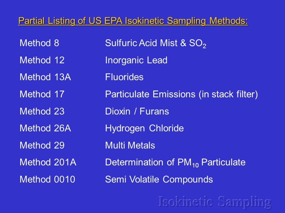 Partial Listing of US EPA Isokinetic Sampling Methods: