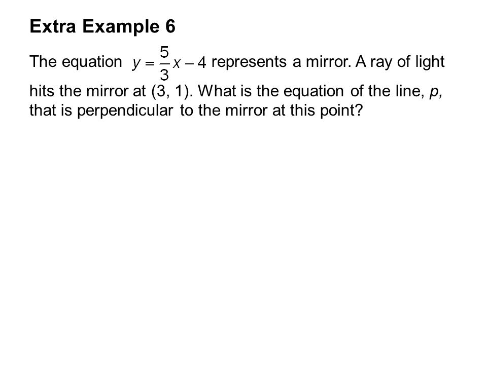 Extra Example 6 The equation represents a mirror. A ray of light