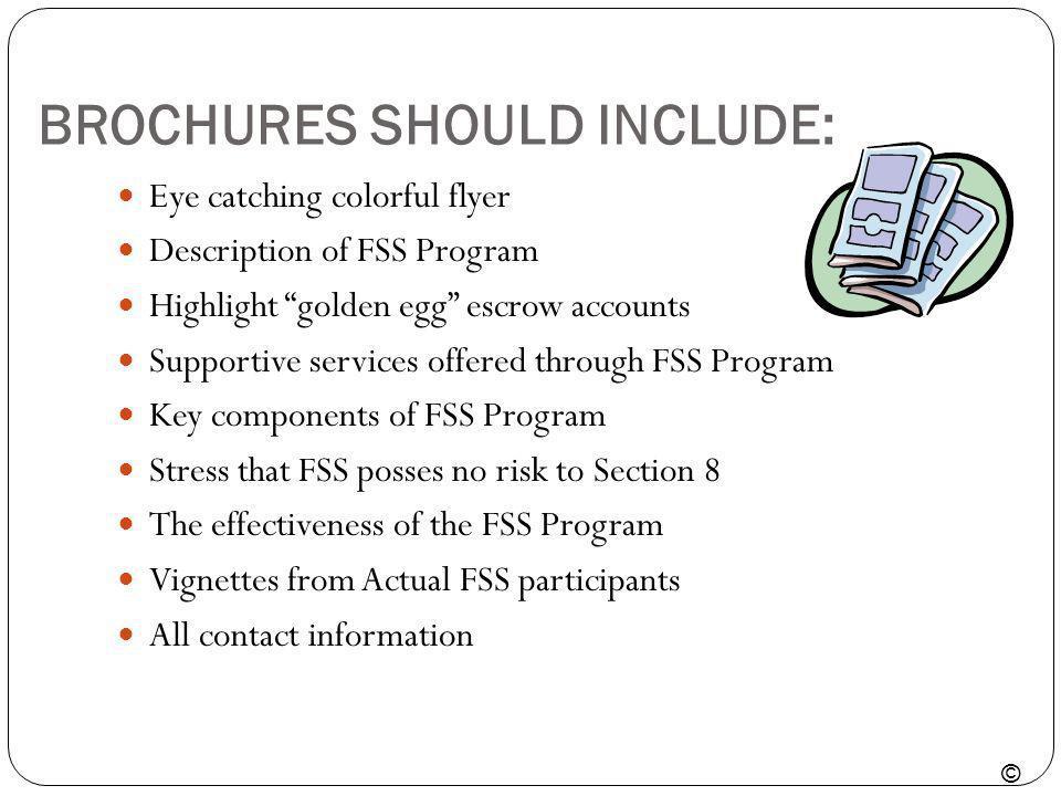 BROCHURES SHOULD INCLUDE: