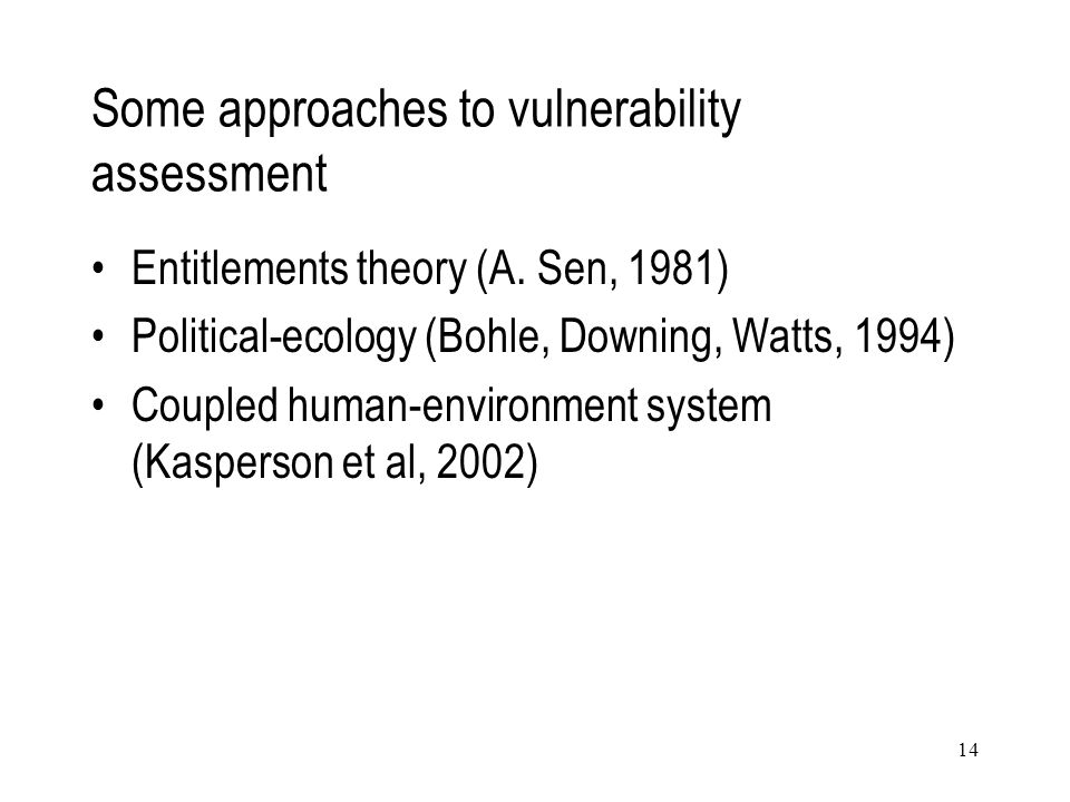 Some approaches to vulnerability assessment