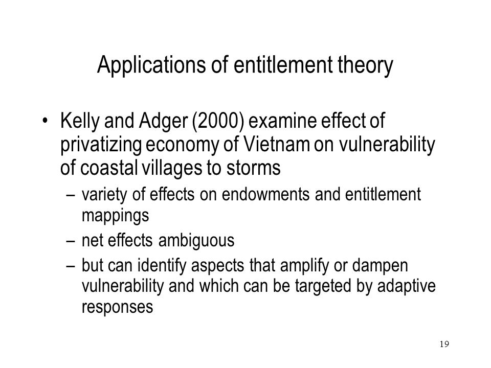 Applications of entitlement theory
