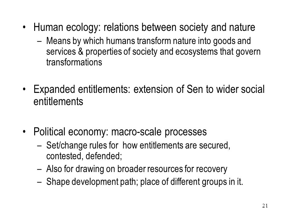 Human ecology: relations between society and nature