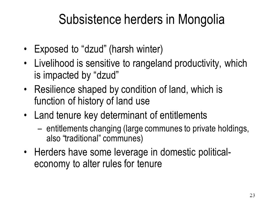 Subsistence herders in Mongolia