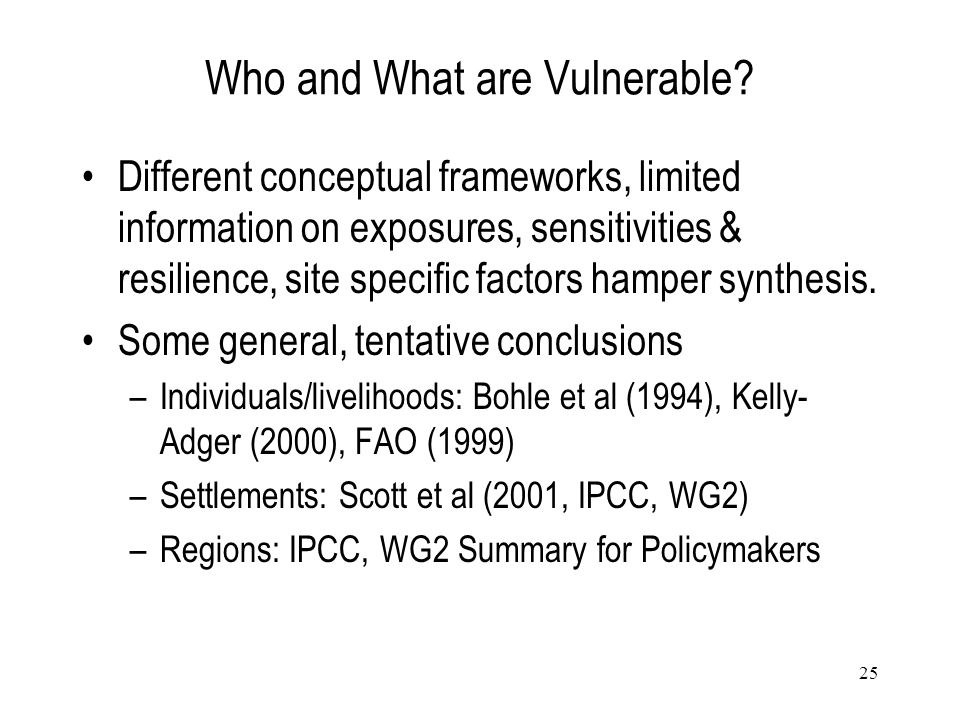 Who and What are Vulnerable