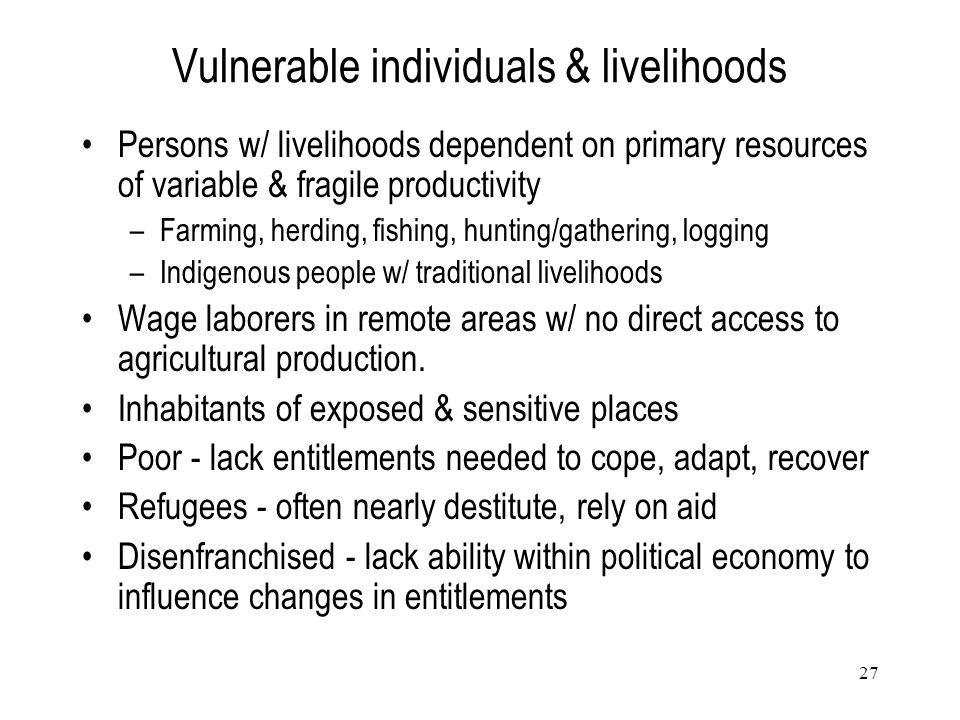 Vulnerable individuals & livelihoods