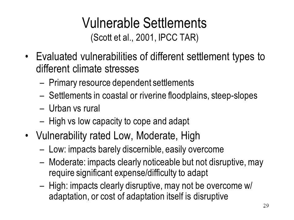 Vulnerable Settlements (Scott et al., 2001, IPCC TAR)