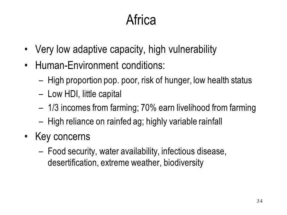 Africa Very low adaptive capacity, high vulnerability