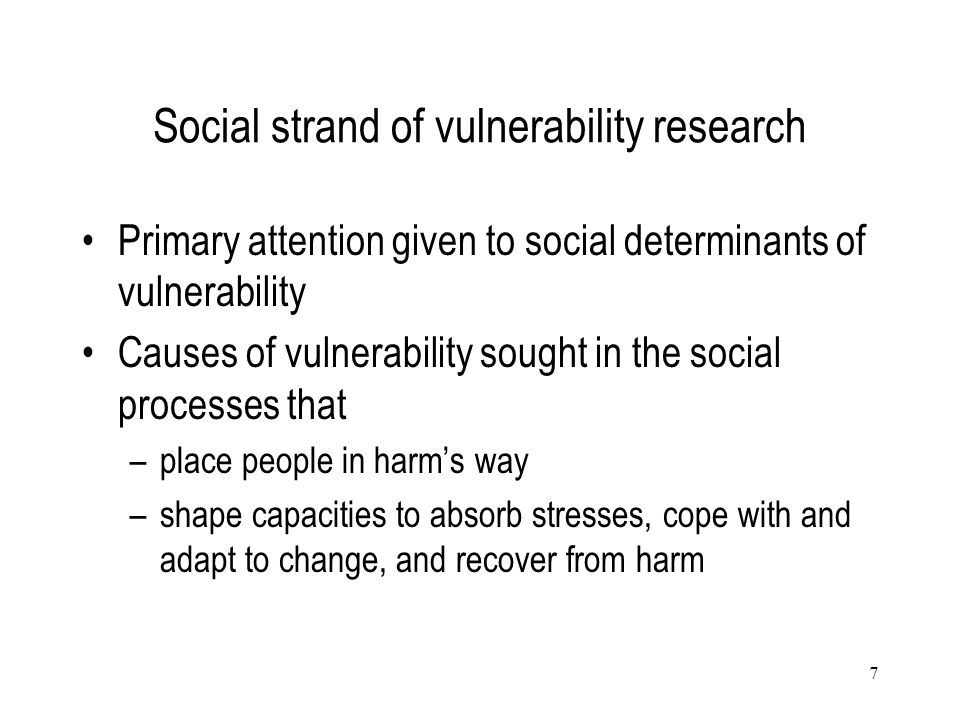 Social strand of vulnerability research
