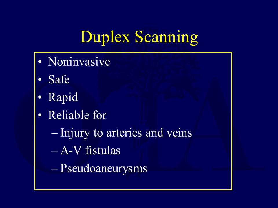 Duplex Scanning Noninvasive Safe Rapid Reliable for