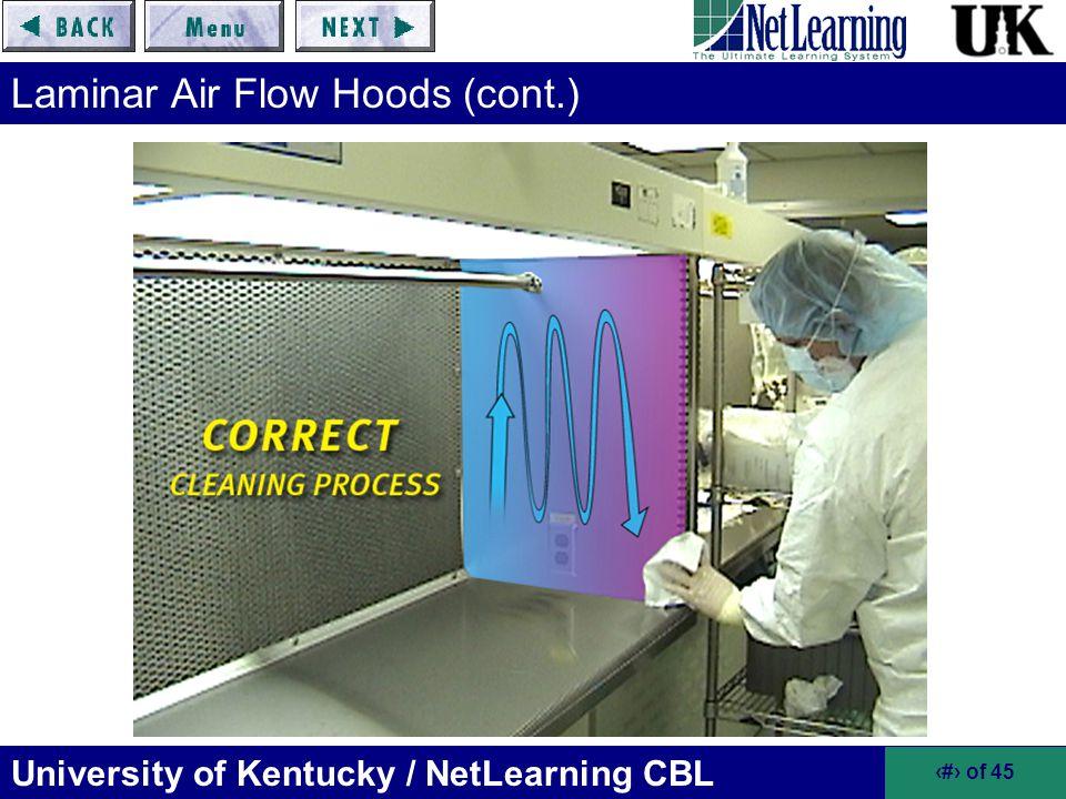 Laminar Air Flow Hoods (cont.)
