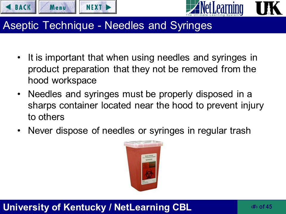 Aseptic Technique - Needles and Syringes