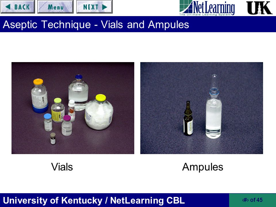 Aseptic Technique - Vials and Ampules