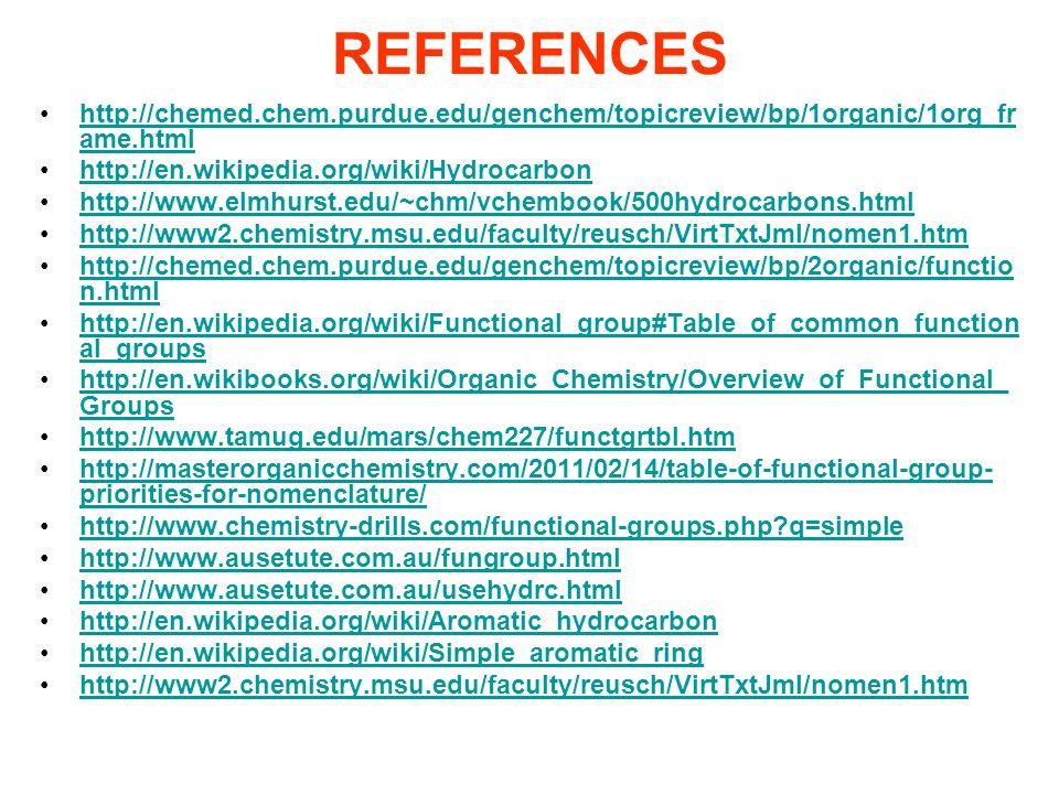 REFERENCES http://chemed.chem.purdue.edu/genchem/topicreview/bp/1organic/1org_frame.html. http://en.wikipedia.org/wiki/Hydrocarbon.