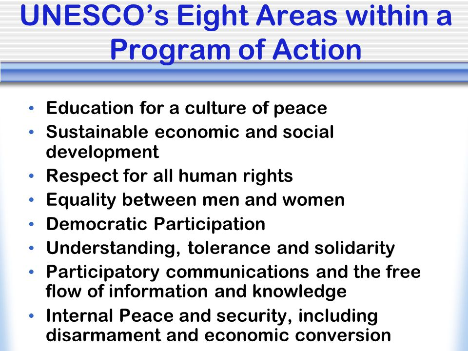 UNESCO's Eight Areas within a Program of Action