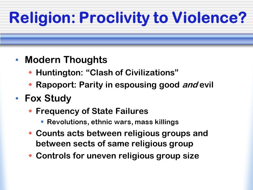 Religion: Proclivity to Violence