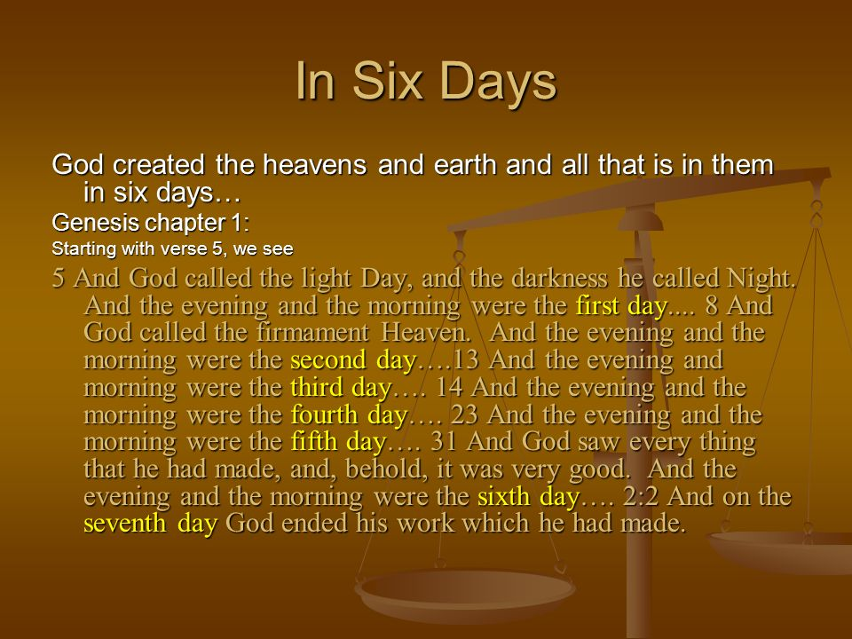 In Six DaysGod created the heavens and earth and all that is in them in six days… Genesis chapter 1: