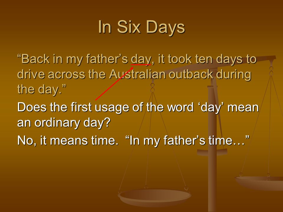 In Six Days Back in my father's day, it took ten days to drive across the Australian outback during the day.