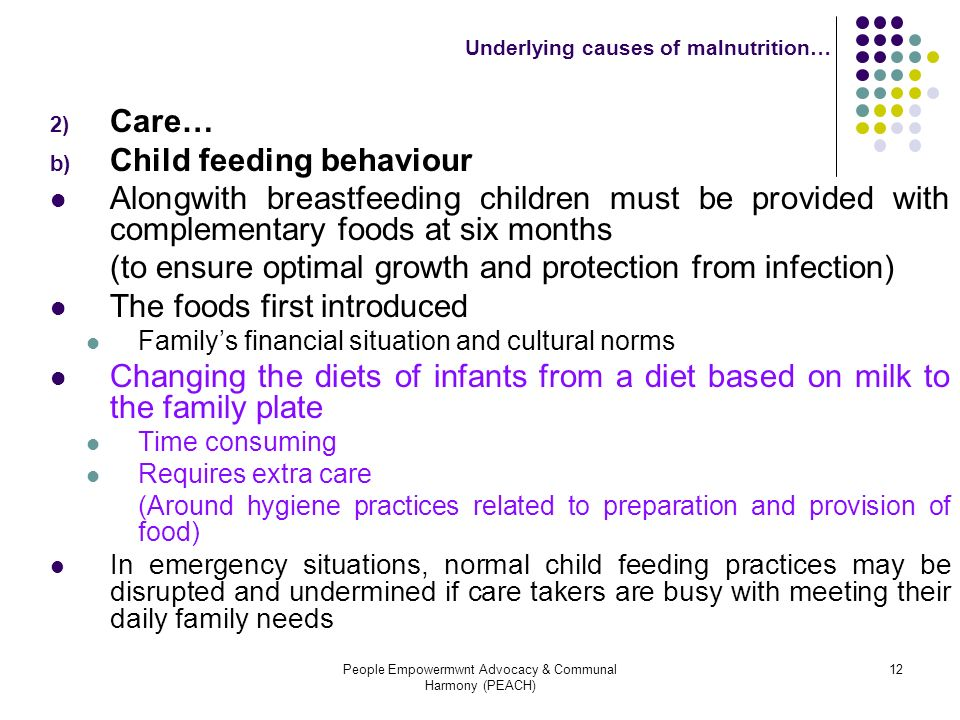 Underlying causes of malnutrition…