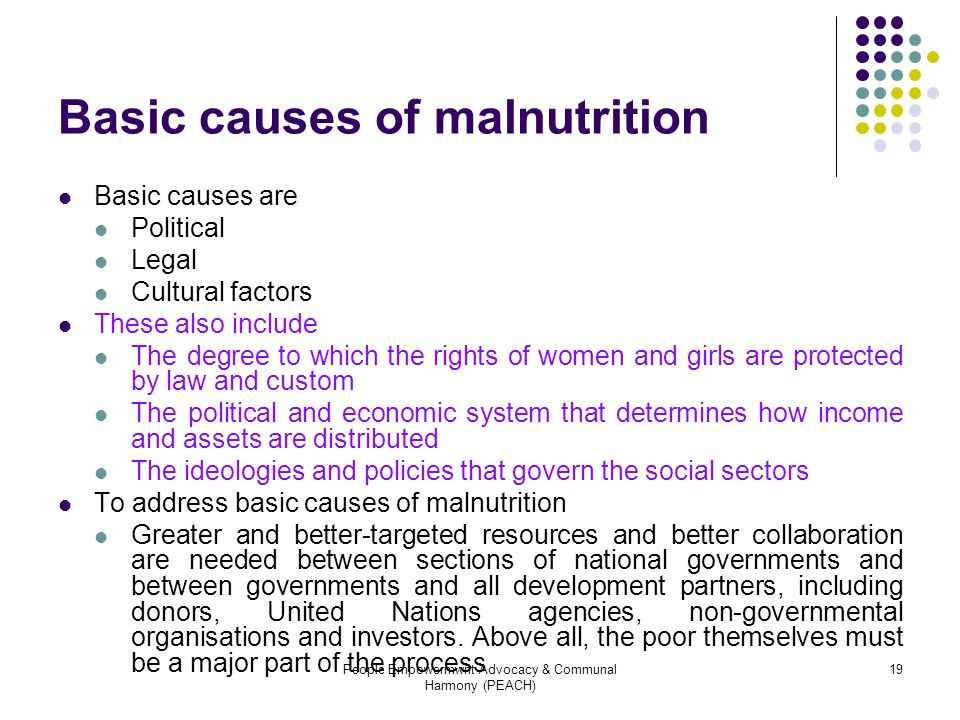 Basic causes of malnutrition