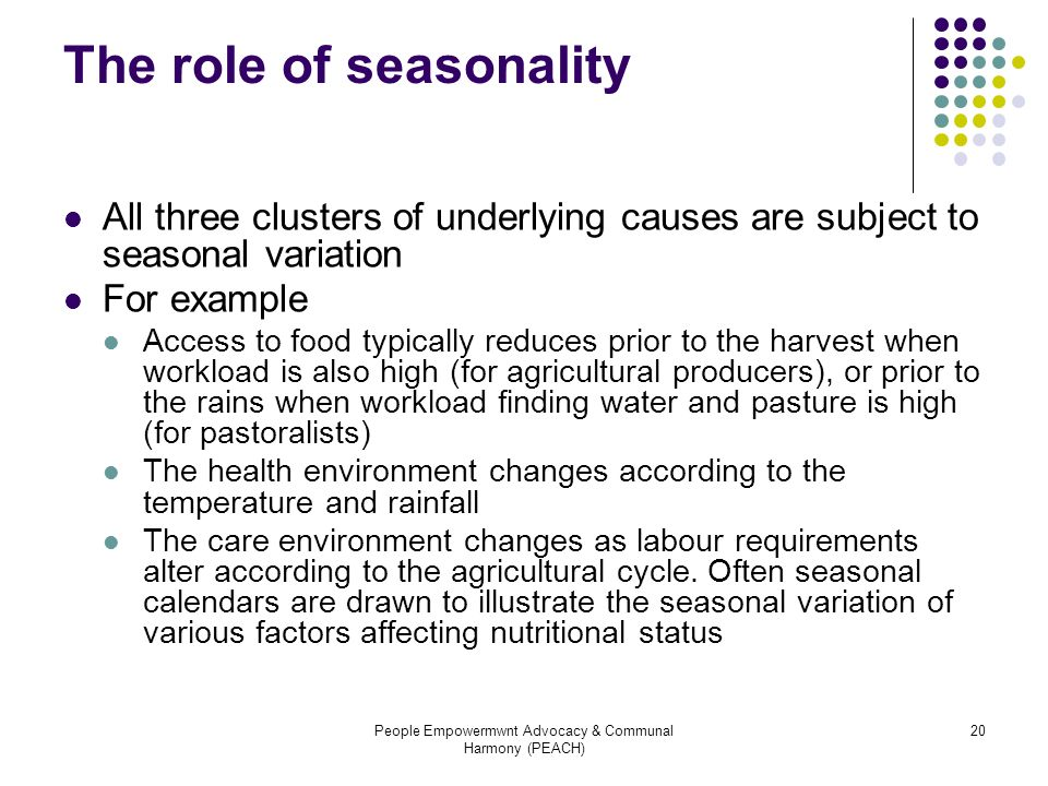 The role of seasonality