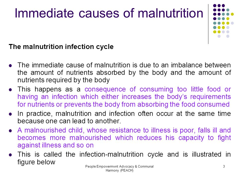 Immediate causes of malnutrition