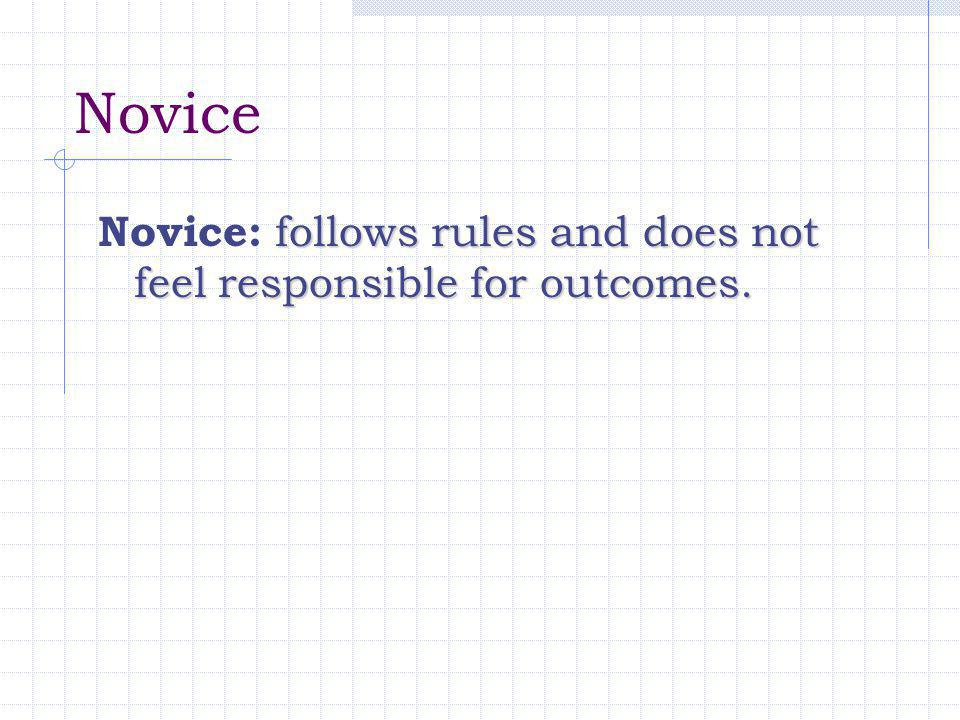 Novice Novice: follows rules and does not feel responsible for outcomes.