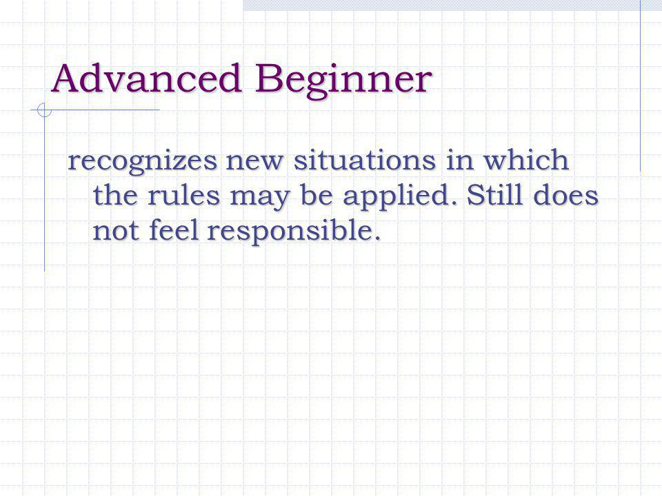 Advanced Beginner recognizes new situations in which the rules may be applied.