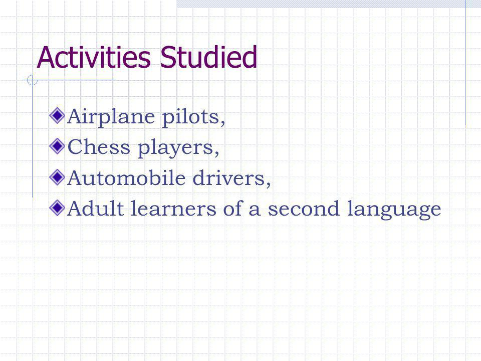 Activities Studied Airplane pilots, Chess players, Automobile drivers,