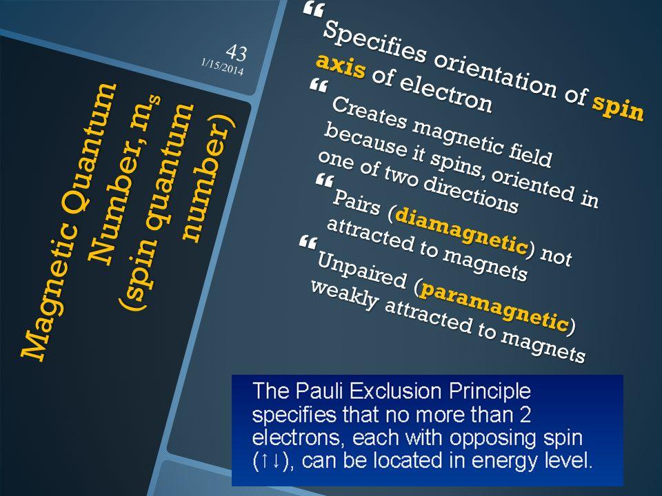 Magnetic Quantum Number, ms (spin quantum number)