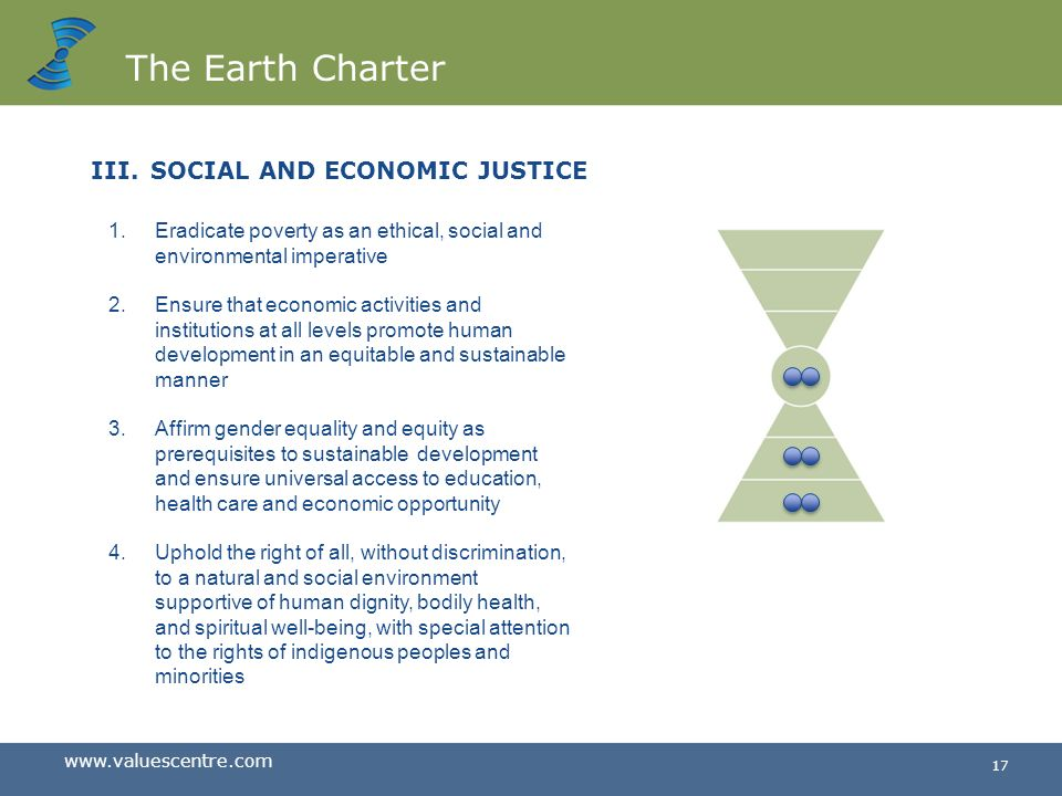 The Earth Charter SOCIAL AND ECONOMIC JUSTICE