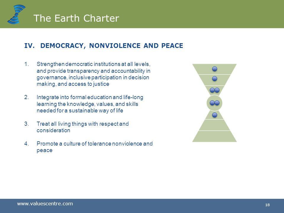 The Earth Charter DEMOCRACY, NONVIOLENCE AND PEACE
