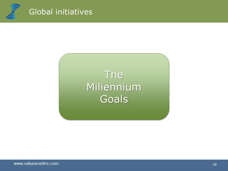 Global initiatives The Miliennium Goals