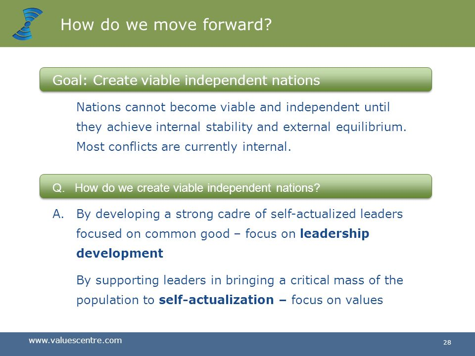 How do we move forward Goal: Create viable independent nations.
