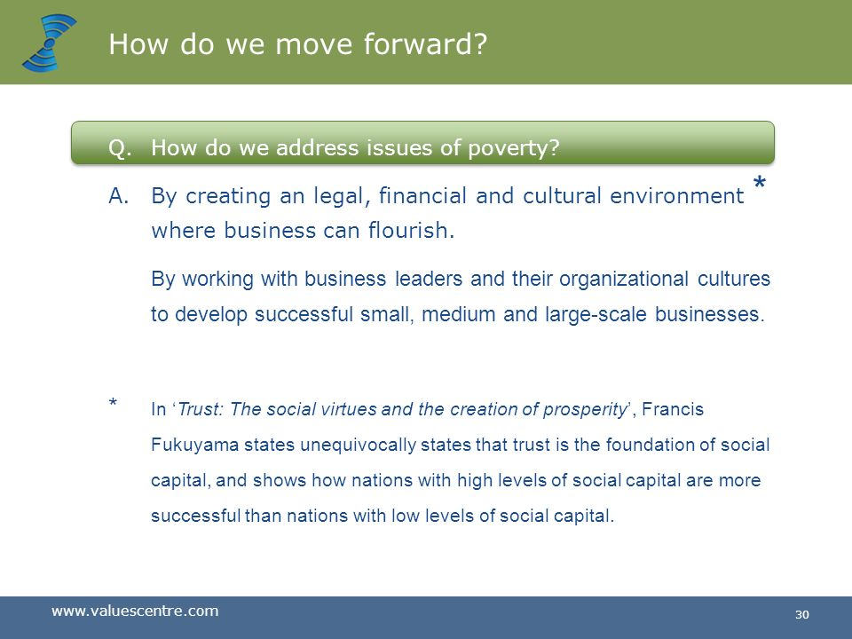 How do we move forward How do we address issues of poverty