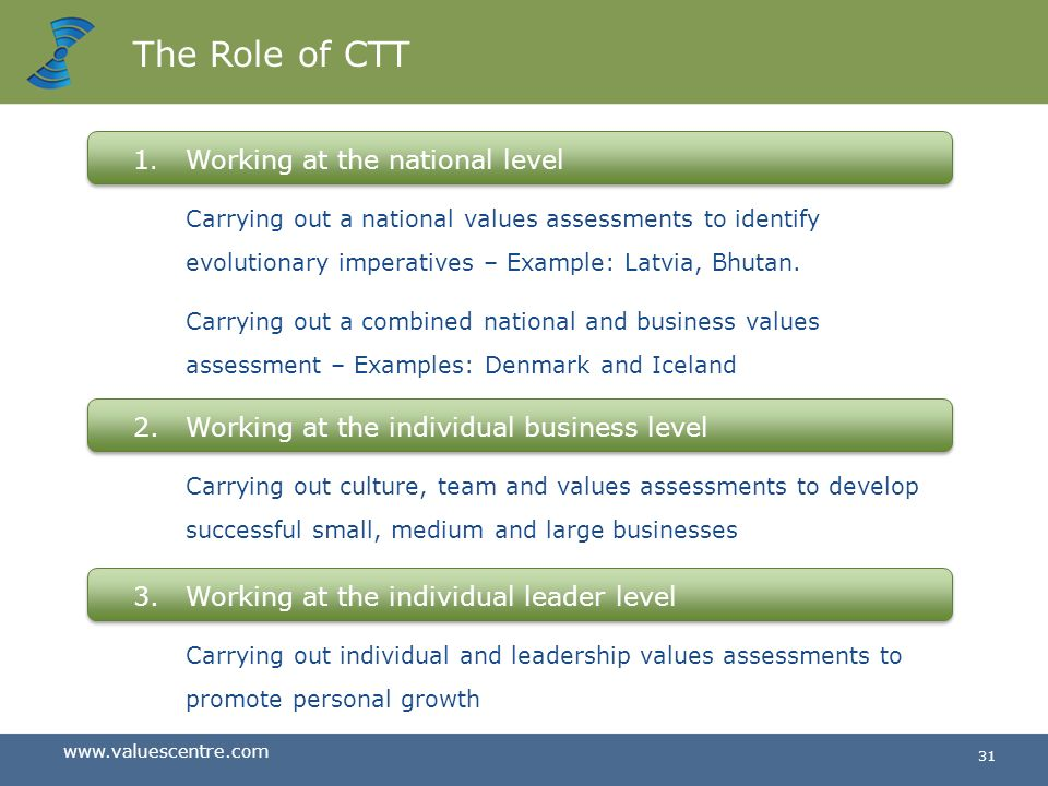 The Role of CTT 1. Working at the national level