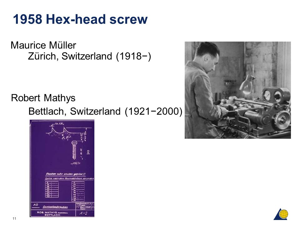 1958 Hex-head screw Maurice Müller Zürich, Switzerland (1918−)