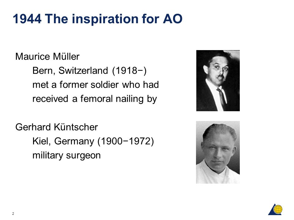 1944 The inspiration for AO Maurice Müller Bern, Switzerland (1918−)