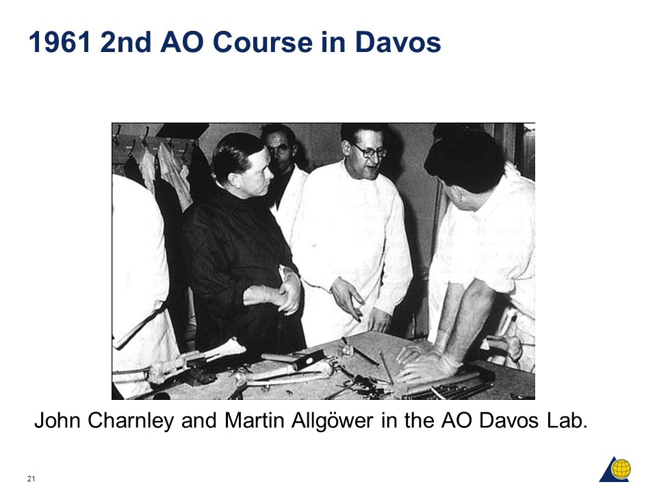 1961 2nd AO Course in Davos John Charnley and Martin Allgöwer in the AO Davos Lab.