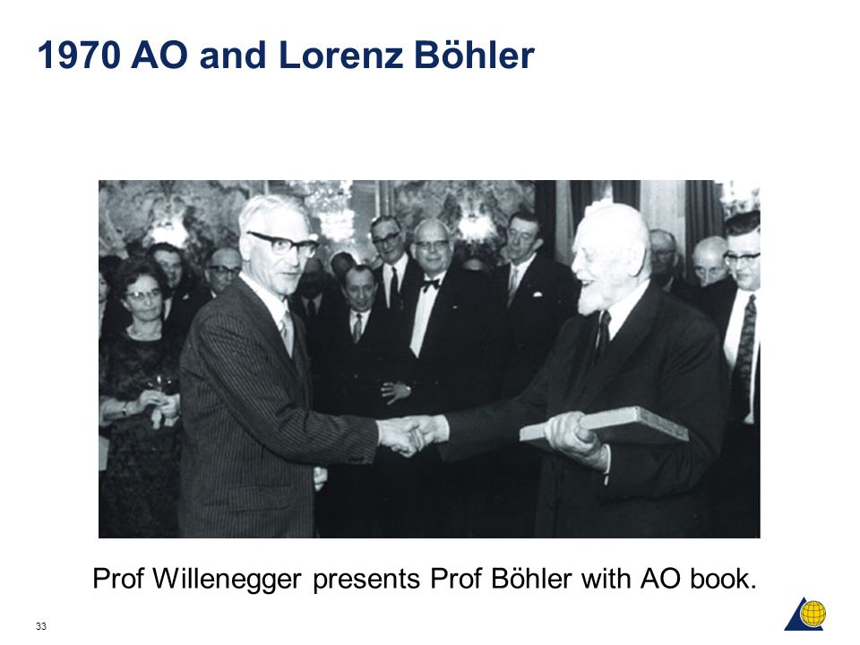Prof Willenegger presents Prof Böhler with AO book.