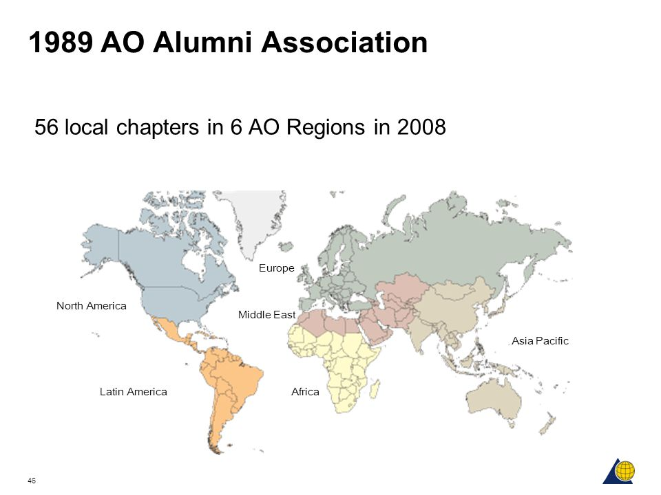1989 AO Alumni Association 56 local chapters in 6 AO Regions in 2008
