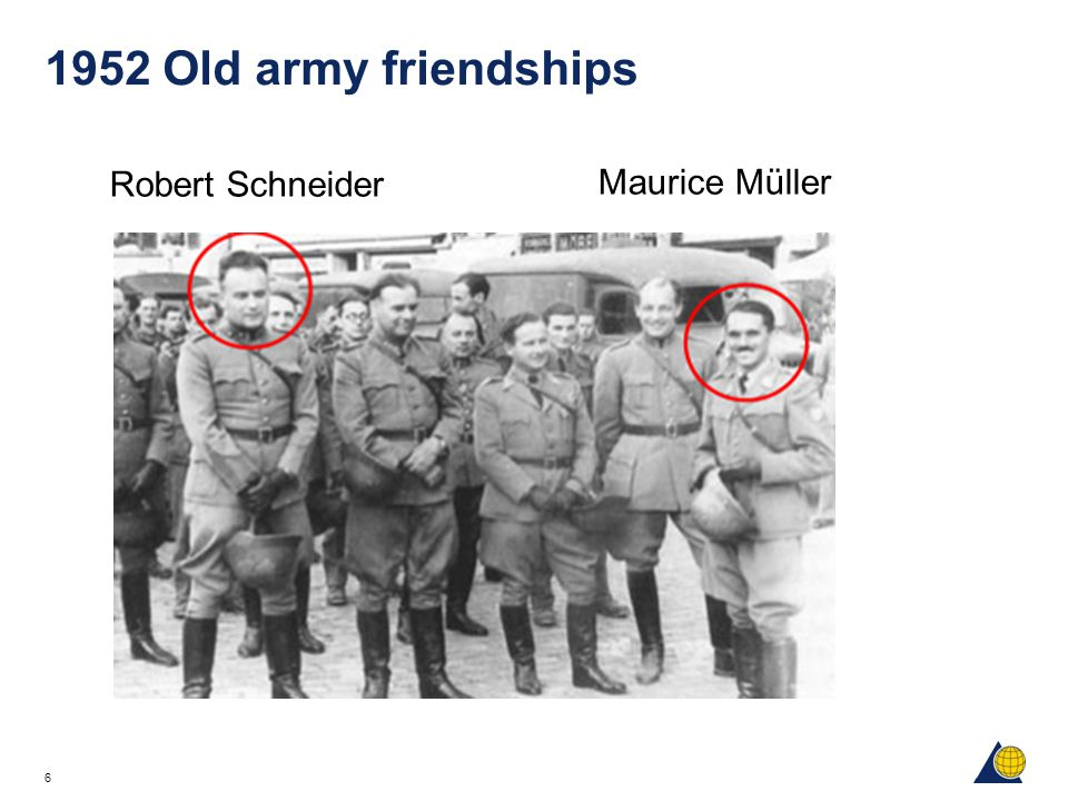 1952 Old army friendships Maurice Müller Robert Schneider