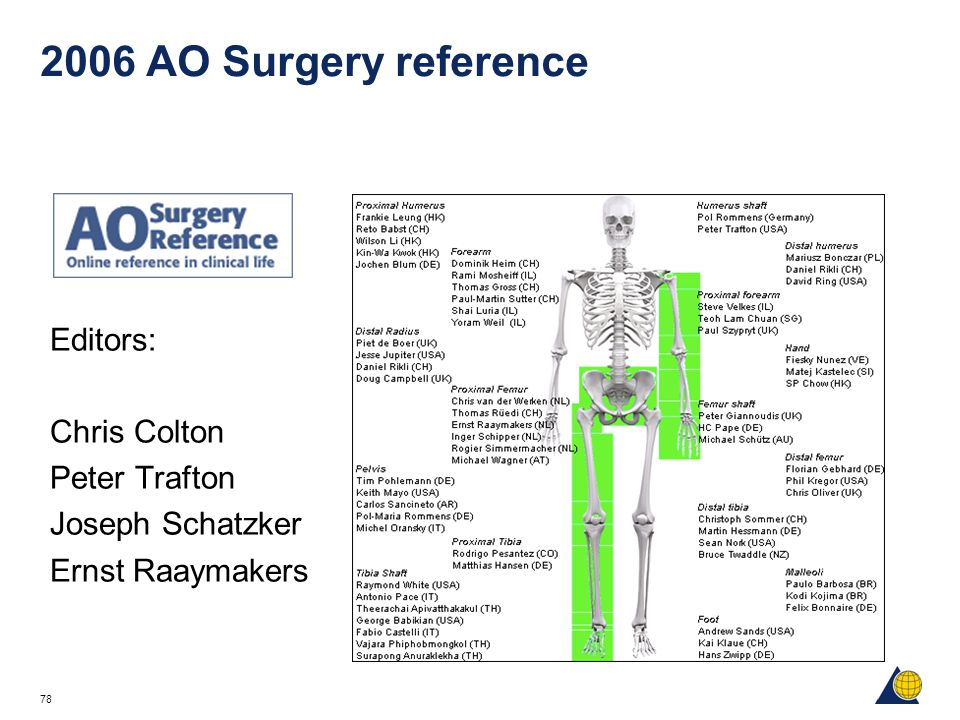 2006 AO Surgery reference Editors: Chris Colton Peter Trafton