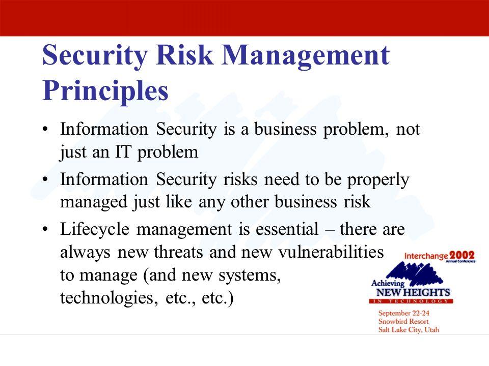 Security Risk Management Principles