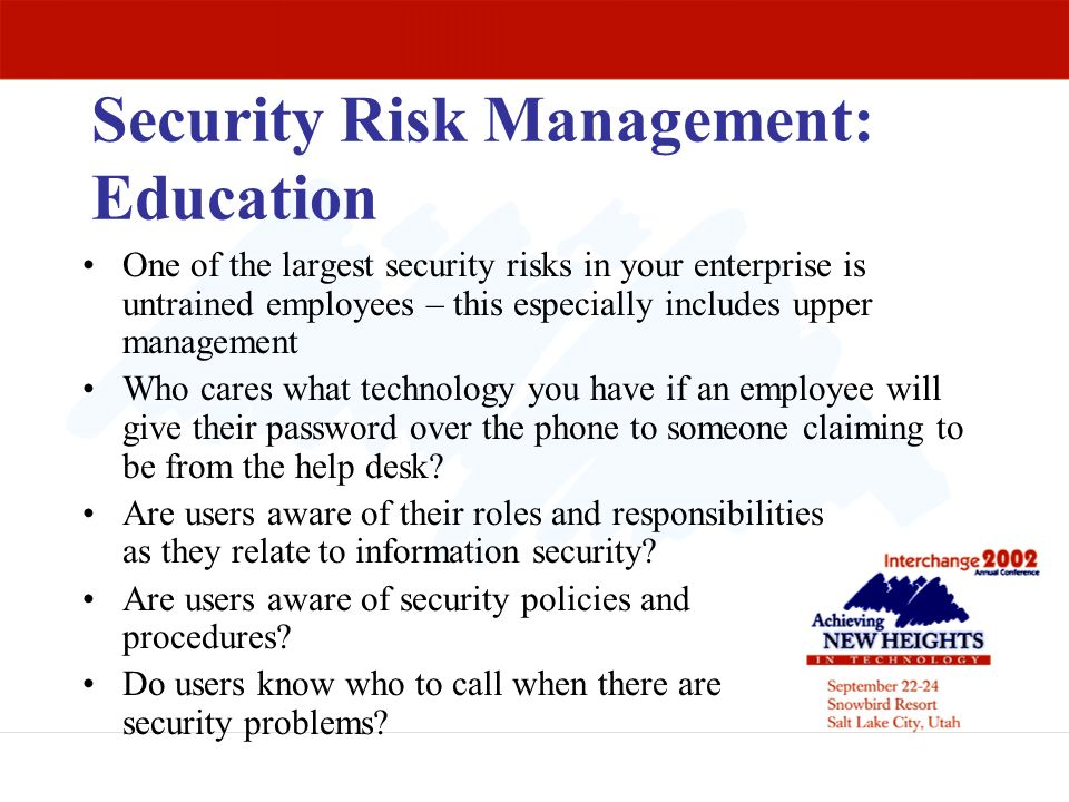 Security Risk Management: Education