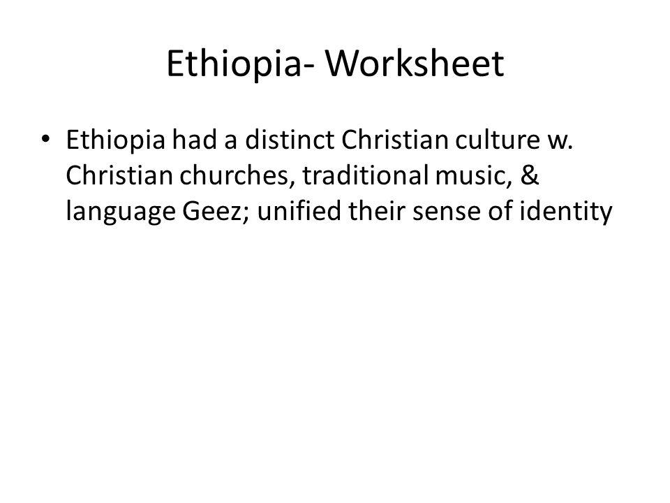 Ethiopia- Worksheet