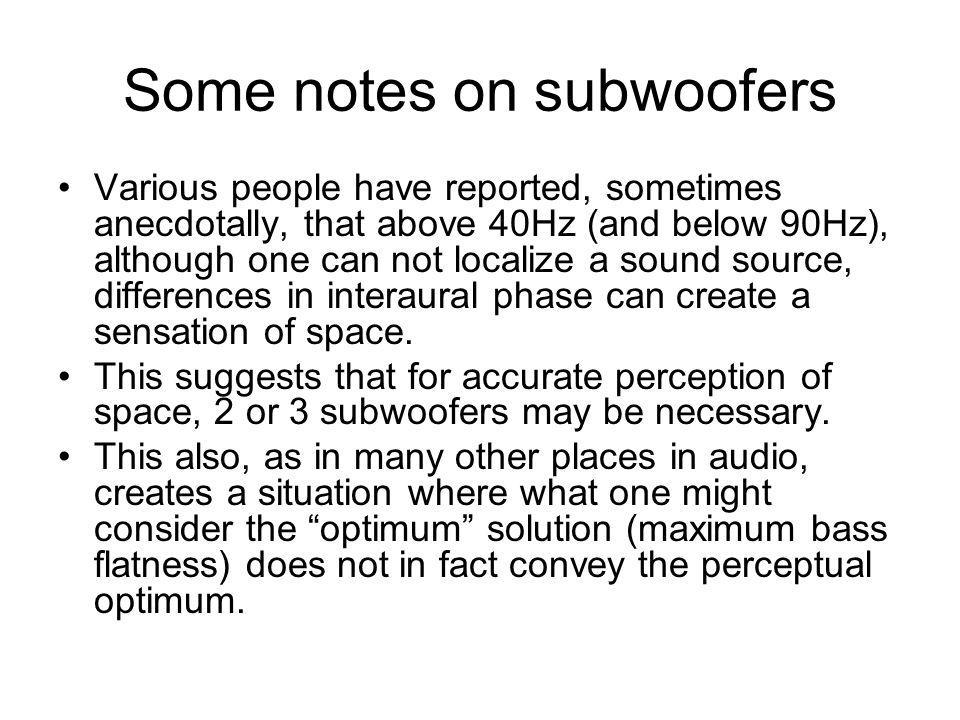 Some notes on subwoofers